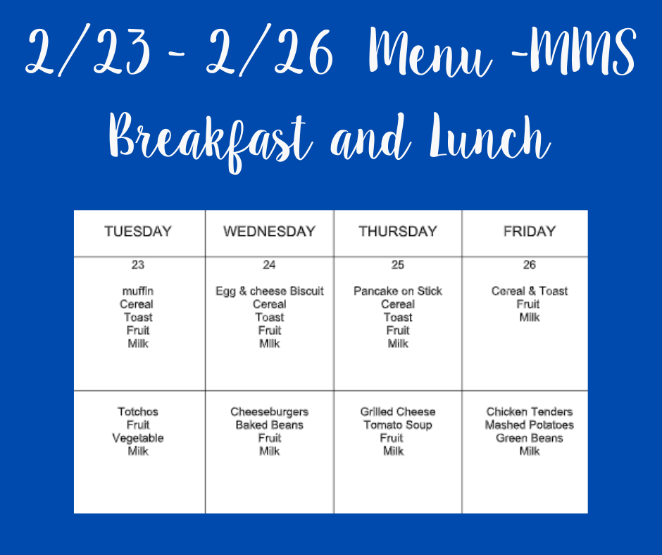 Lunch Menu for 2/23 - 2/26