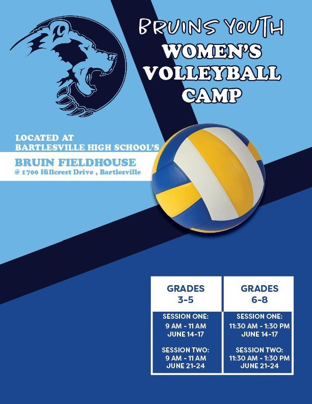 Women's Volleyball Camps for 3rd-8th Grades