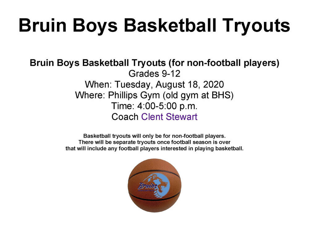 08/18 Bruin Boys Basketball Tryouts grades 9-12