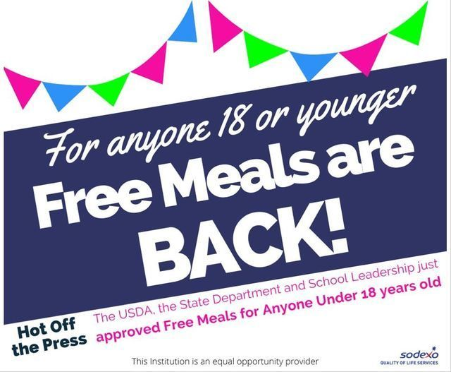Free meals for ANYONE ages 1-18